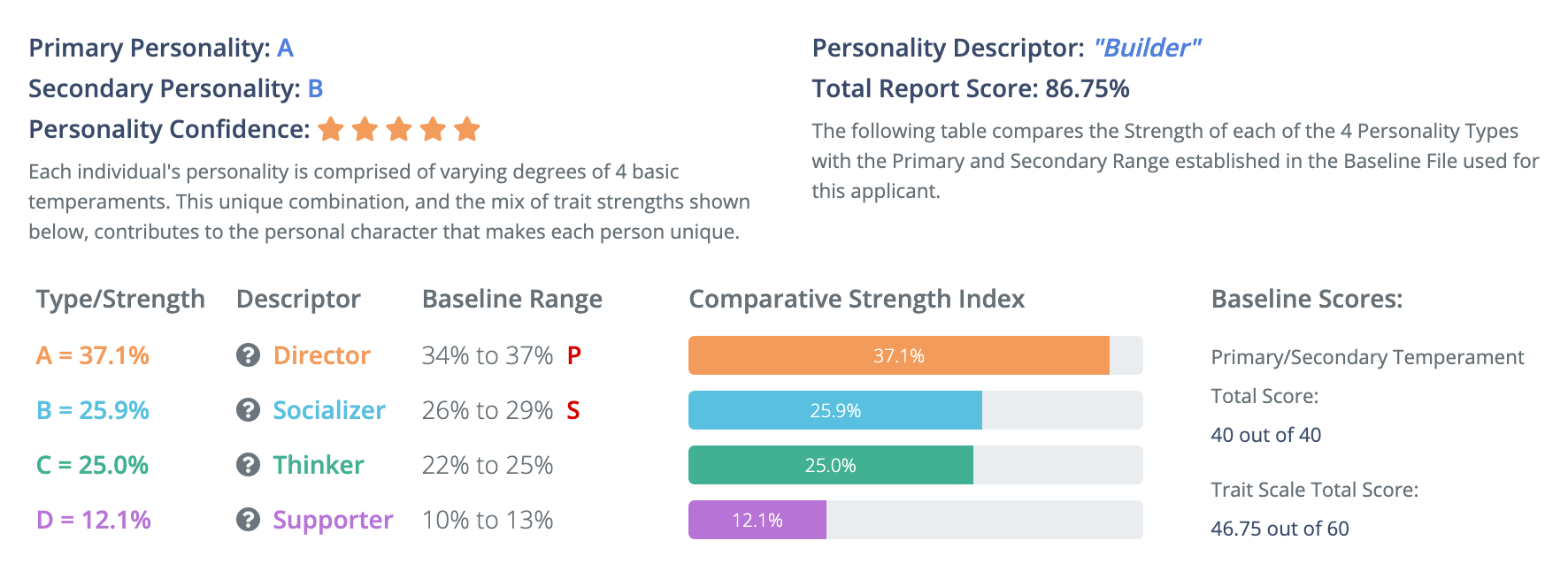 Sample Personality Profile Baseline Summary Report Top Section